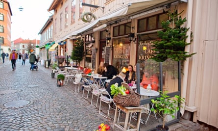 Cafes and shops in Gothenburg's Haga neighbourhood.