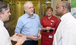 Jeremy Corbyn visits George Eliot hospital in Nuneaton, Warwickshire