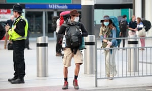 Passengers on a repatriation flight from Peru arrive at Gatwick in March, part of a £75m rescue operation, of which only £40m has been spent.