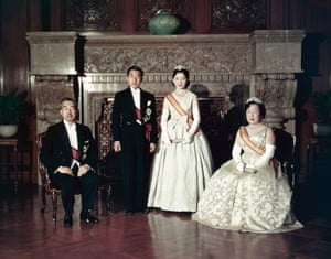 Crown Prince Akihito and Crown Princess Michiko pose with former Emperor Hirohito and former Empress Nagako after the 'Choken-no-Gi', first greeting following their wedding in Tokyo in April 1959