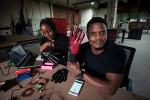 Roy Allela is developing a glove that translates sign language to speech via a bluetooth-enabled smartphone.