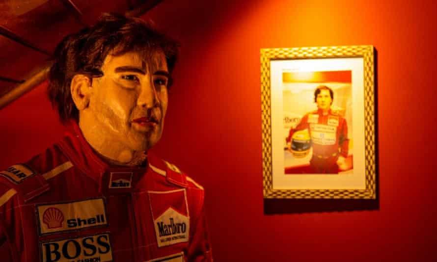 A wax figure of Ayrton Senna.