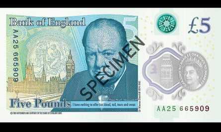 The back of the new plastic £5 note