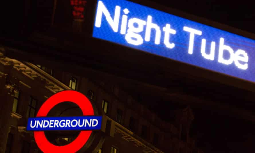 Tube station by night