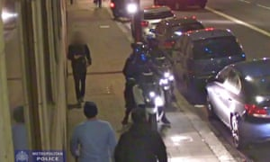 A tourist had his leg broken after criminals riding mopeds deliberately ran him down as they tried to steal his watch.
