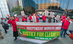 Cleaners demonstrating for better conditions earlier this month