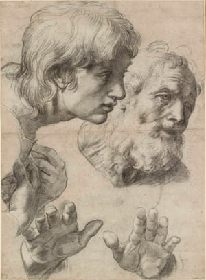 The heads and hands of two apostles, c1519–20, Raphael.