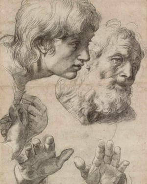 Study of the heads and hands of two apostles