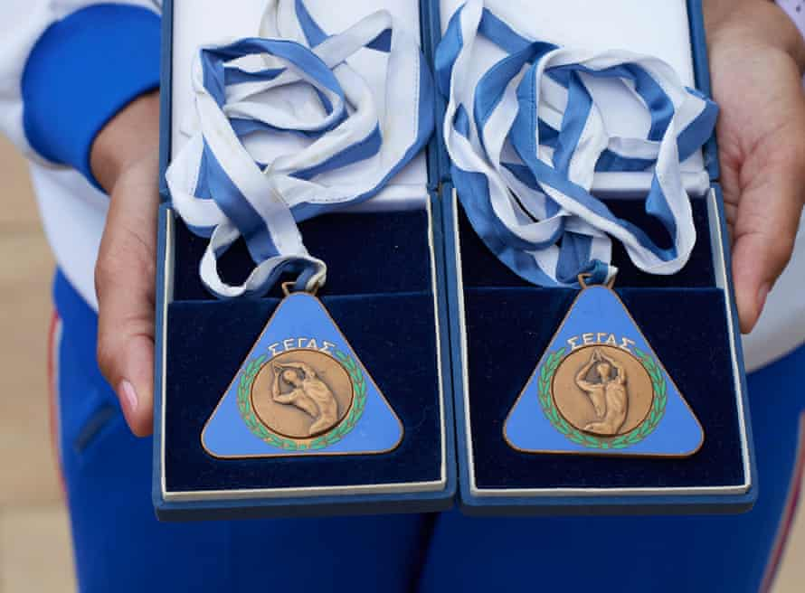 Neil's medals from the European games in Athens in 1969 for the 100 metres and 4x100 metres relay.