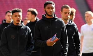 England's Joe Gomez, centre, has gone home following a training ground accident ahead of the national side's encounter against Kosovo on Sunday.