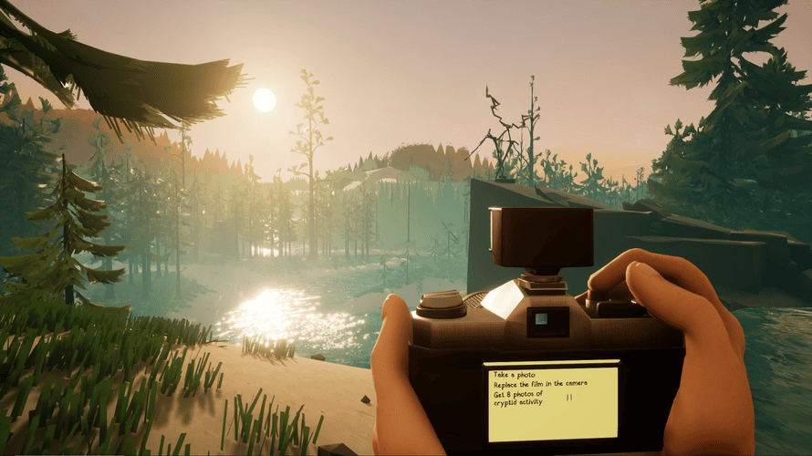 An avatar in the game SnapHunt holding up a camera to take a photo of a lake