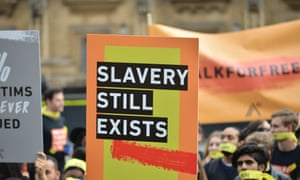 Walk For freedom, protest march against modern slavery in London, UK, October 2017.