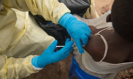 Locals are vaccinated against the Ebola virus outbreak in the Democratic Republic of the Congo in July.