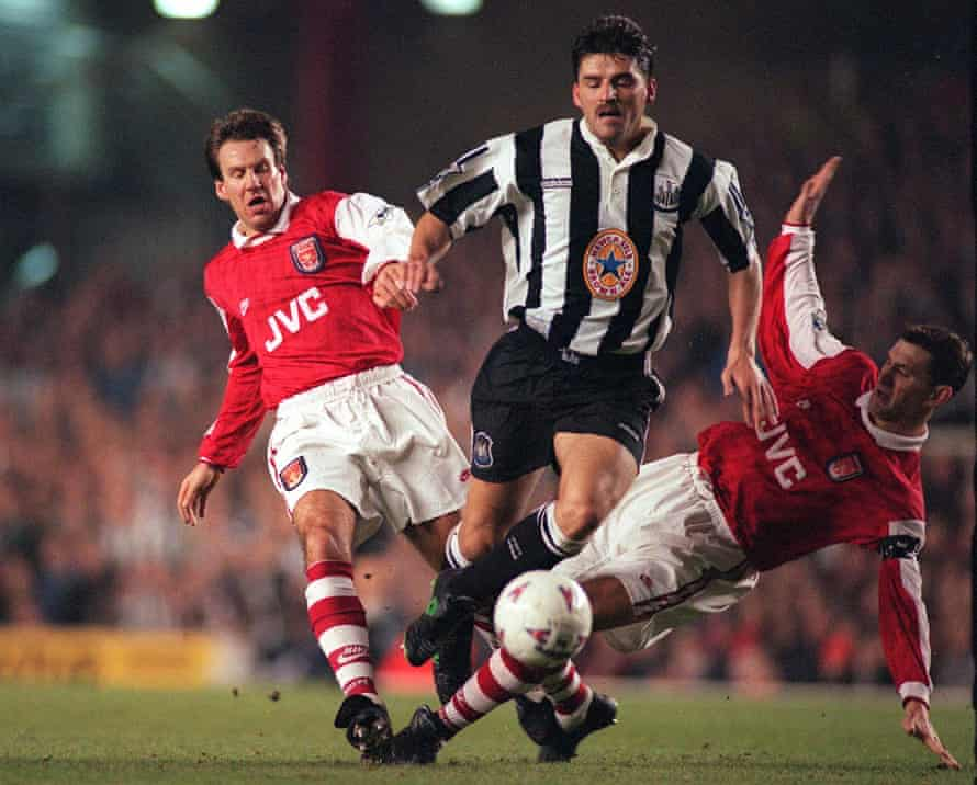 Philippe Albert in action against Arsenal in 1996.