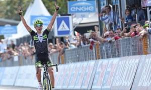 Davide Formolo crosses the finish line to win the fourth stage in La Spezia after pulling off a daring solo attack.