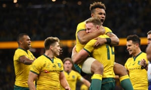 Australia celebrate after victory in the Rugby Championship and Bledisloe Cup Test in Perth.
