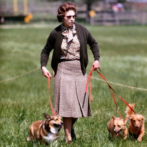 The Queen with some of her corgis walking the cross country course during the second day of the Windsor Horse Trials.
