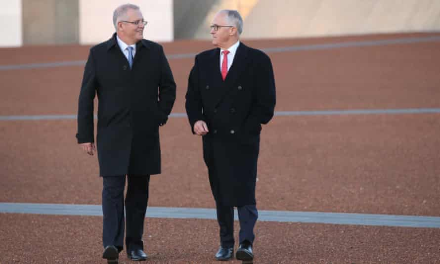 Scott Morrison and Malcolm Turnbull outside Parliament House
