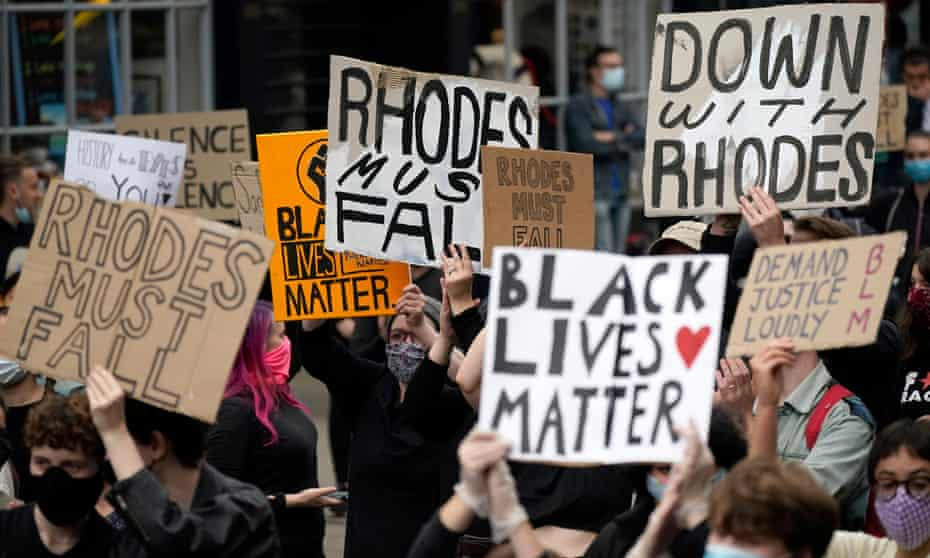 A protest called by the Rhodes Must Fall campaign on Tuesday in Oxford