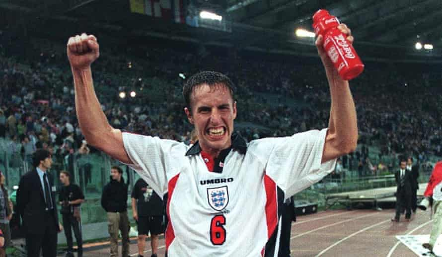 Gareth Southgate celebrates England's 0-0 draw in Rome against Italy on October 11, 1997 to qualify for the 1998 World Cup