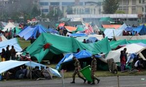 A makeshift camp at Tunshikel in Kathmandu on Tuesday.