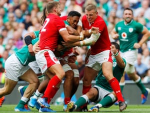 Wales tackle Bundee Aki during their warm-up defeat in Ireland.
