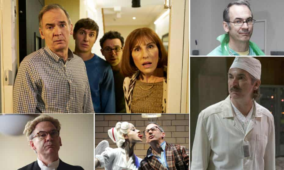 Clockwise from top left: Paul Ritter in Friday Night Dinner; Vera; Chernobyl; Really Old, Like Forty Five on stage at the National Theatre; and The Trial of Christine Keeler.