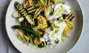 Charred courgettes with mozzarella and lovage