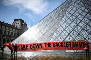 A protest against the Sacklers outside the Louvre.