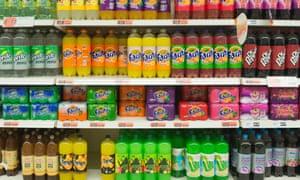 Soft drinks on a supermarket shelf