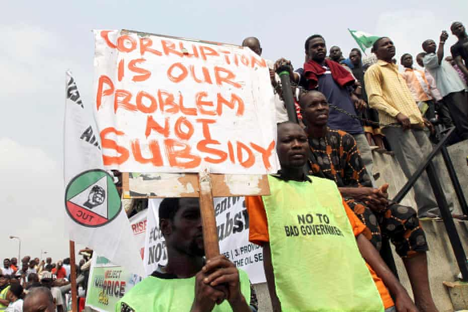 An anti-corruption protest in Lagos in 2012.