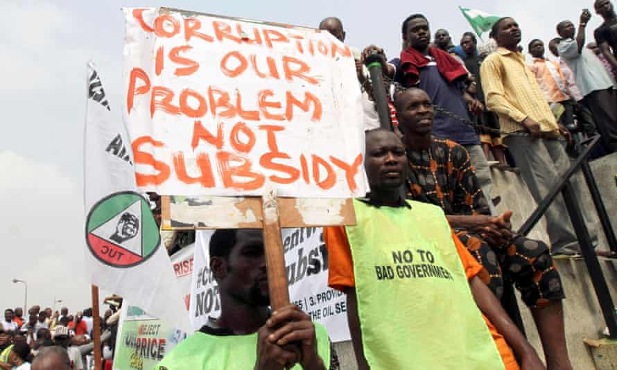 An anti-corruption protest sparked by a rise in subsidised petrol prices in Lagos, Nigeria in 2012