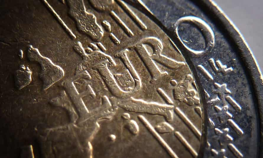 A close-up of a euro coin