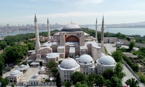 A drone photo shows an aerial view of Ayasofya, in Istanbul, Turkey.