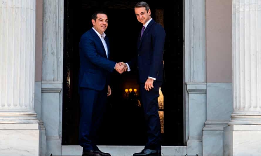 Alexis Tsipras hands over to his successor, Mitsotakis.