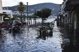 Seawater floods a square in Vathi on Samos