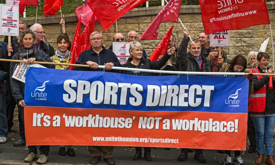 A demonstration in support of Sports Direct workers.