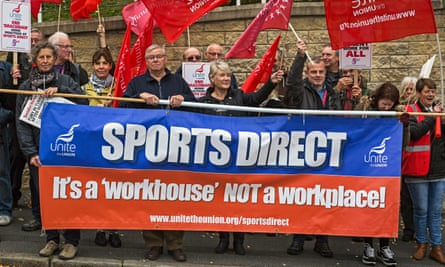 Sports Direct demo outside Chesterfield Magistrates Court
