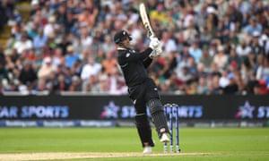 New Zealand batsman Colin de Grandhomme hits six runs.