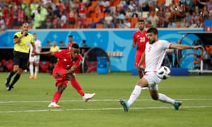 Panama's Edgar Barcenas finds the net from distance but it's disallowed.