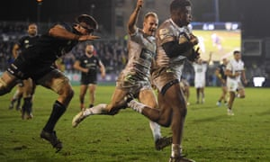 Clermont's wing Samuel Ezeala runs in a try
