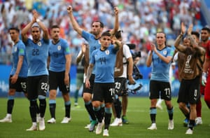 Uruguay's players celebrate after the win over Russia