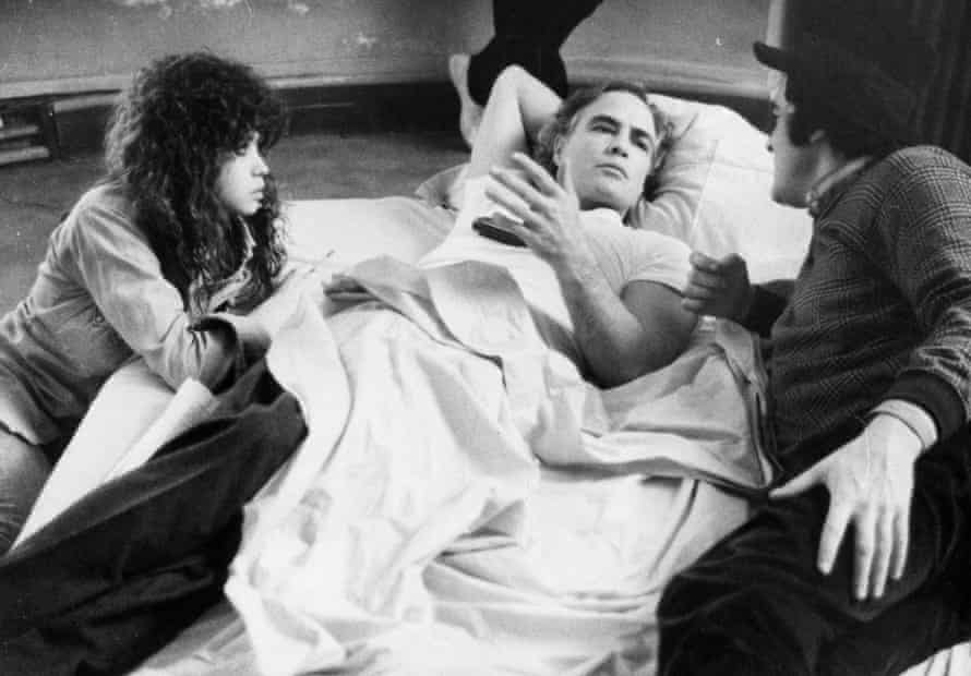 American actor Marlon Brando with actress Maria Schneider and Bernardo Bertolucci.