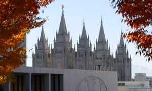The historic Salt Lake temple and the Mormon church world headquarters is seen from City Creek Park.