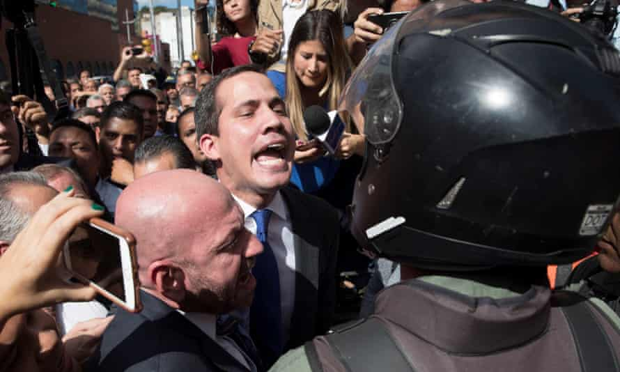 Guaidó and his backers forced their way into the parliament in Caracas.