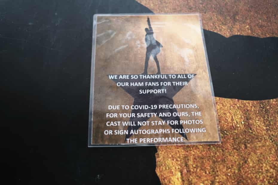 A note outside the theater for the hit play Hamilton explains why they have closed.