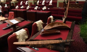 Possum skins and a table carried coolamons are seen inside the Legislative Assembly.