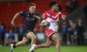 Kevin Naiqama races away to complete his hat-trick.