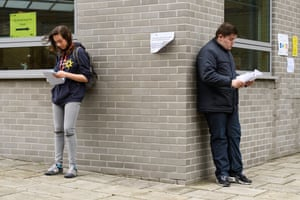 Students assess their A-level results at City and Islington college in north London