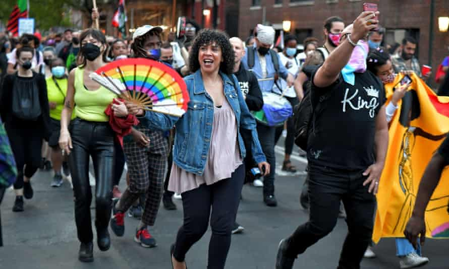 Dianne Morales, center, participates in a stonewall protest on 20 May.